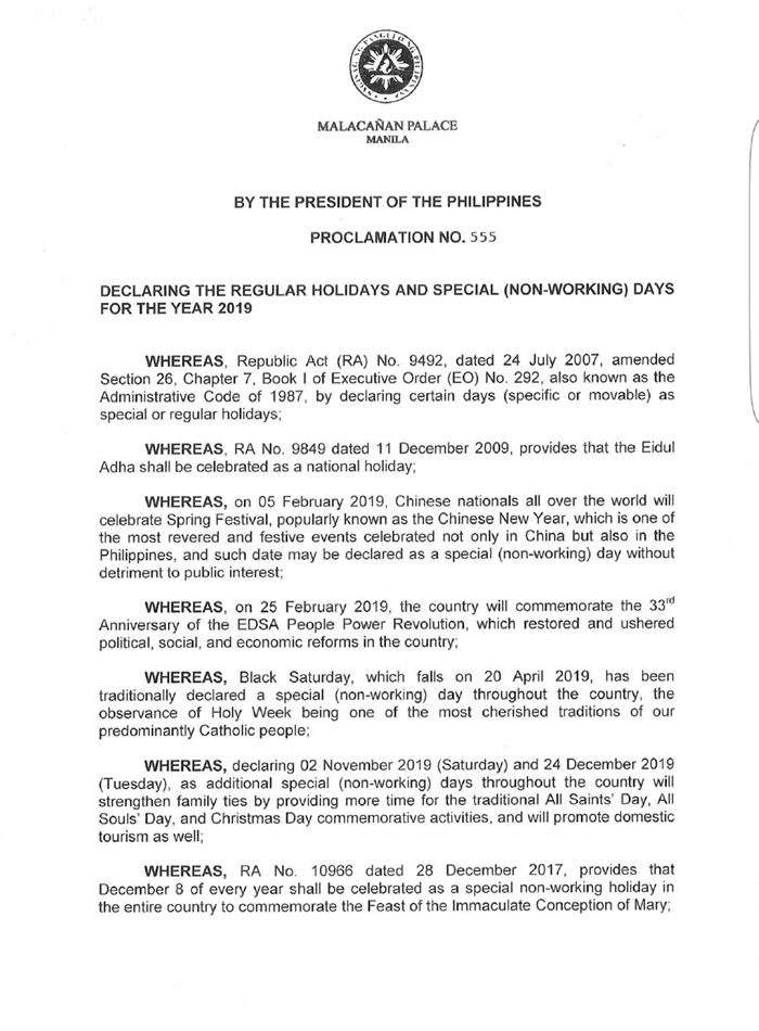 official malacanang proclamation 555