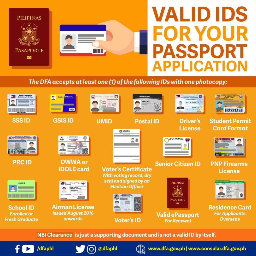 valid philippine IDs for passport