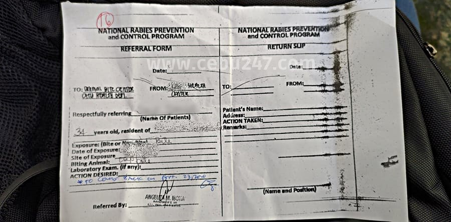 referral form from barangay hall animal bite cebu